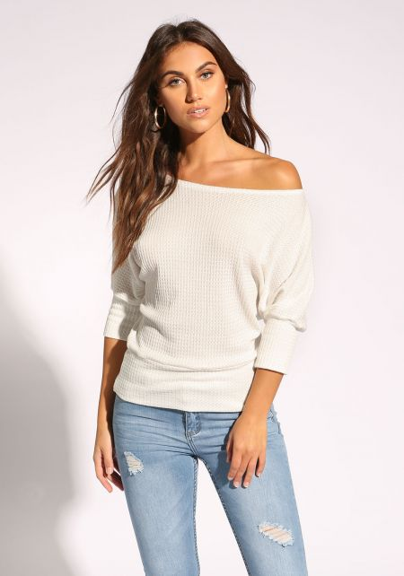 White Thermal Off Shoulder Top