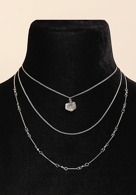 Silver Stone Layered Chain Necklace