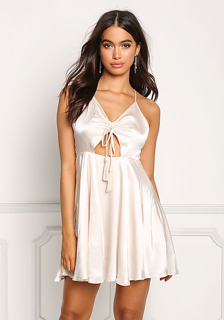 Ivory Silky Flared Back Cross Strap Dress