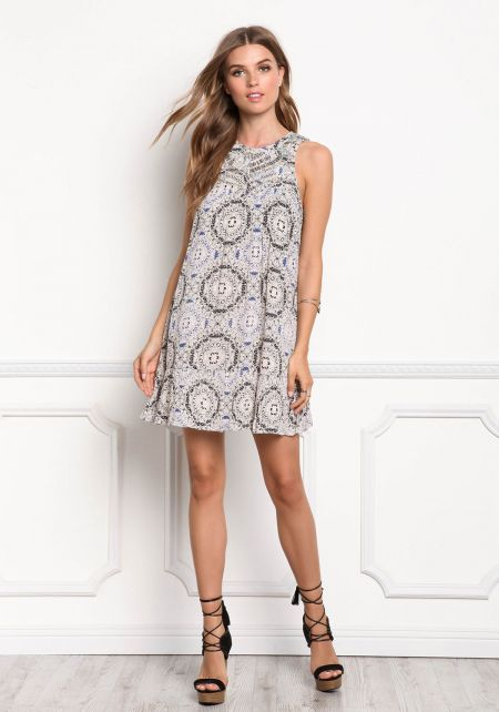Multi Print Beaded Shift Dress