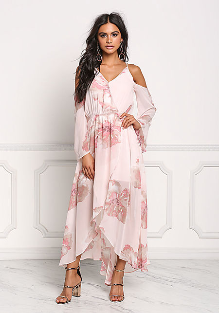 Blush Chiffon Cold Shoulder Floral Maxi Dress