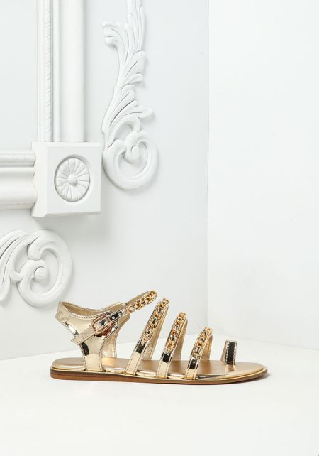 Gold Metallic Leatherette Chain Sandals