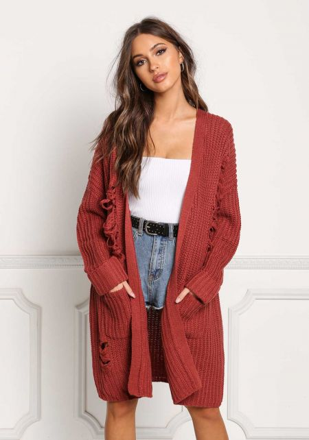Mauve Thick Knit Frayed Pocket Cardigan