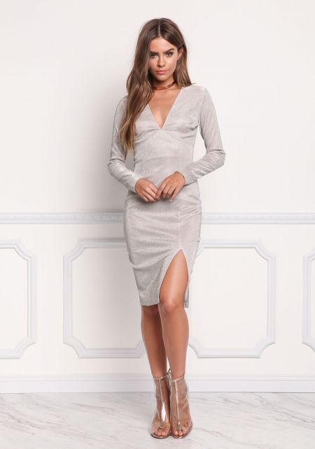Champagne Shimmer Plunge Slit Bodycon Dress
