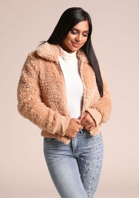 Taupe Fuzzy Faux Fur Collared Jacket