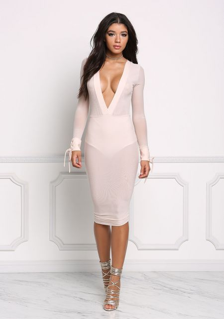 Nude Deep V Mesh Bodycon Dress