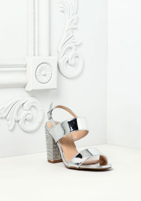 Silver Chrome Rhinestone Heels