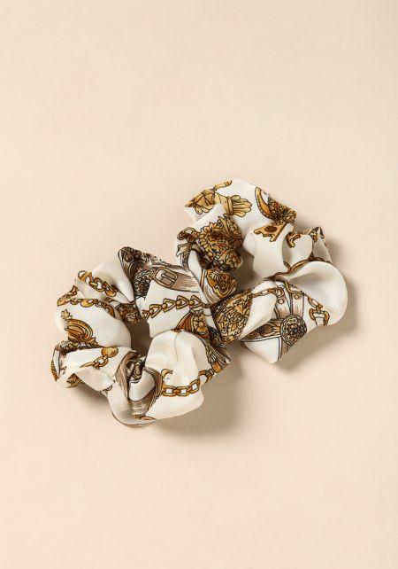 Ivory Brocade Scrunchie Set