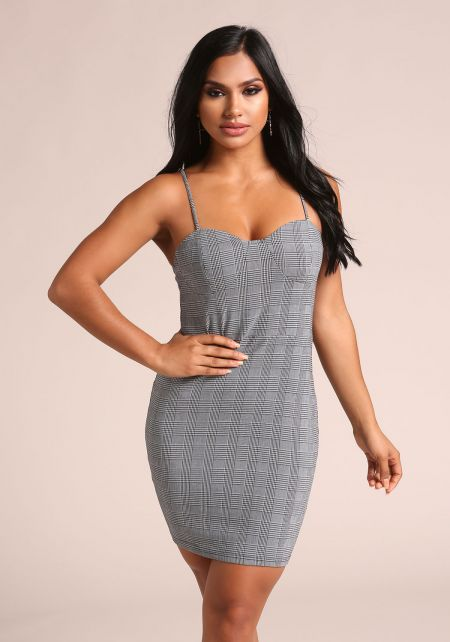 Black and White Glen Plaid Bustier Bodycon Dress