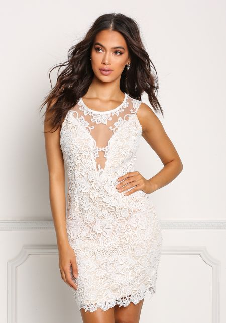 Ivory Floral Embroidered Tulle Plunge Dress