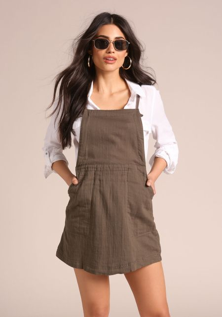 Olive Cross Strap Pocket Overalls Dress