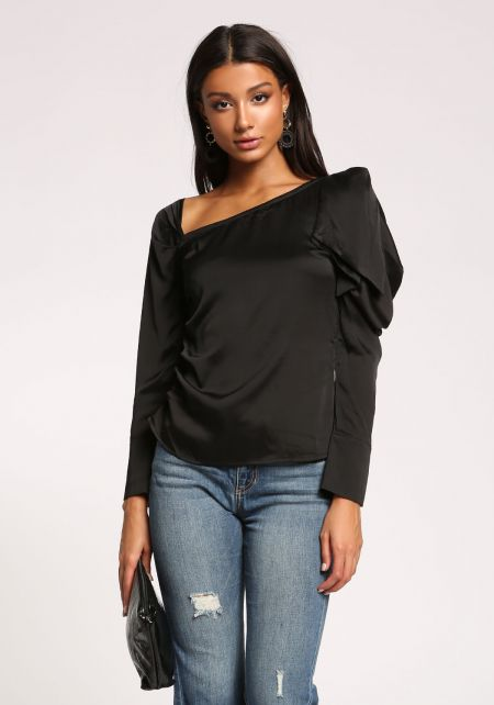 Black Satin Asymmetrical Ruched Sleeve Blouse