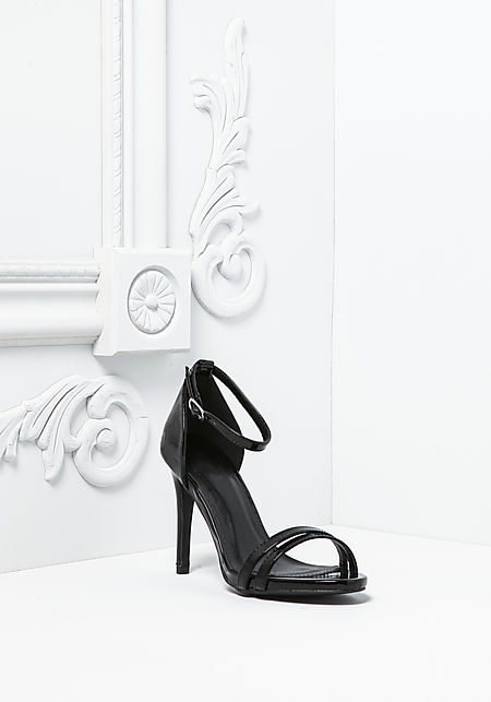 Black Patent Leatherette Ankle Strap Heels