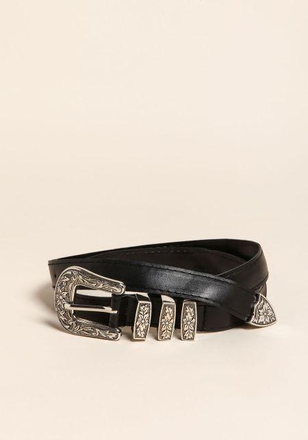 Black Thin Leatherette Engraved Buckle Belt