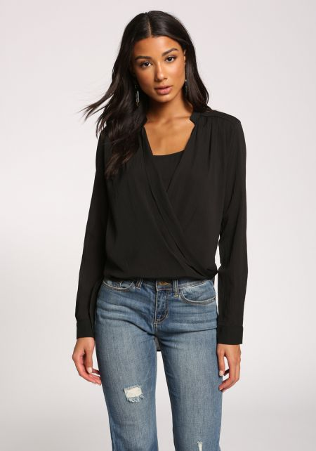 Black Surplice Layered Hi-Lo Blouse