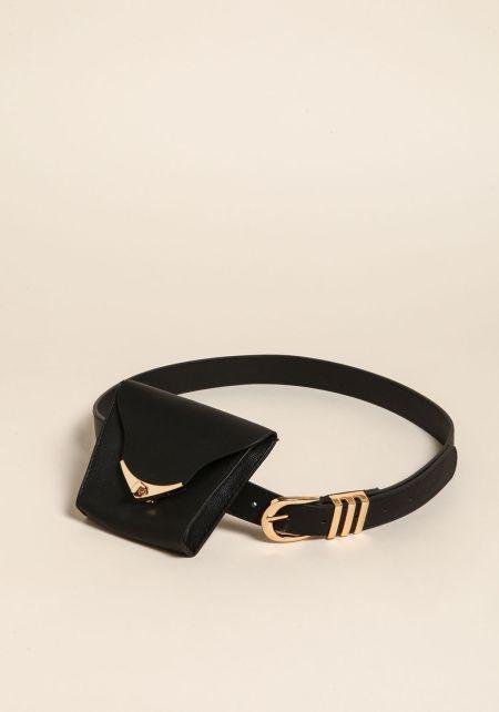 Black Leatherette Fanny Belt