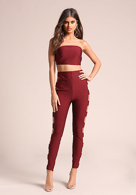 Wine Bandage Side Plaque Pants
