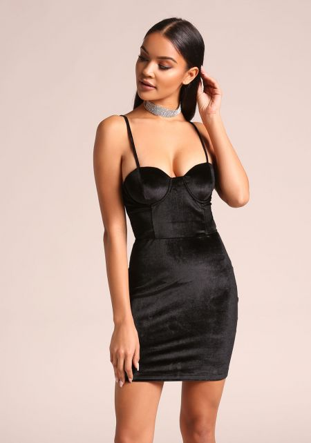 Black Velvet Bustier Bodycon Dress