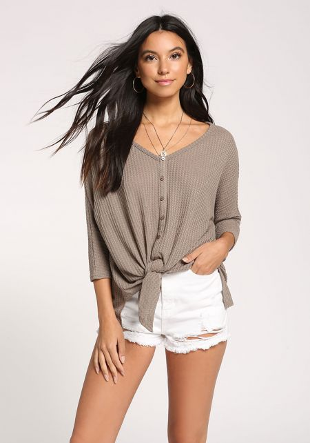 Mocha Button Down Tie Front Thermal Top
