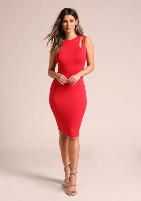 Red Double Strap Sleek Bodycon Dress