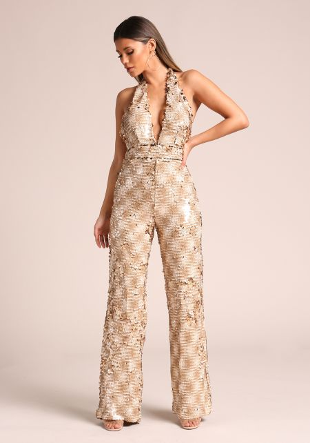 Nude Sequin Low Cut Halter Jumpsuit
