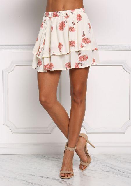 Cream Floral Layered Mini Skirt