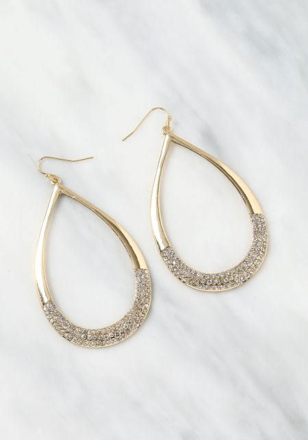 Gold Teardrop Rhinestone Earrings