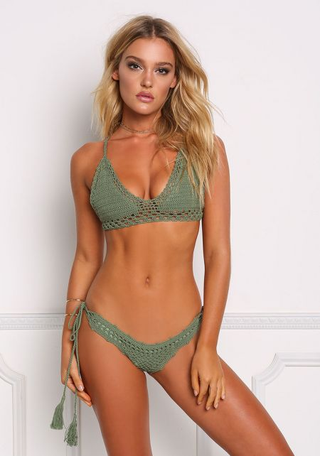 Olive Crochet Tassel Strap Swimsuit Bikini Bottoms