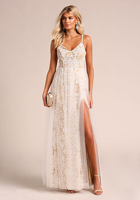 Nude Embroidered Tulle High Slit Maxi Gown