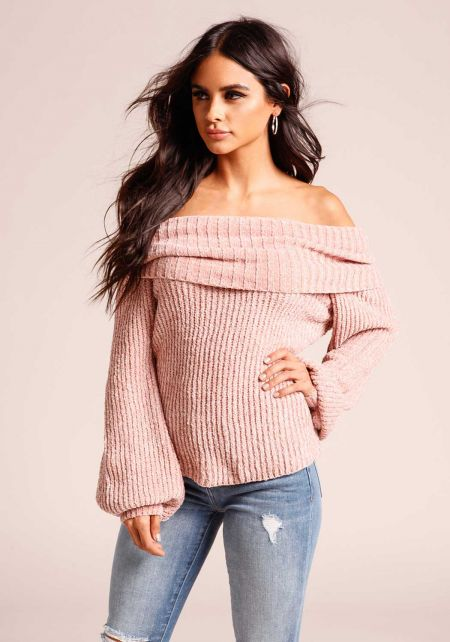 Dusty Pink Off Shoulder Thick Ribbed Knit Sweater