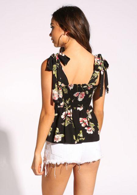 Black Shoulder Tie Floral Tank Top