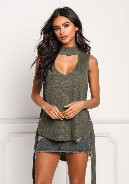 Olive Sweater Knit Side Lace Up Cut Out Top