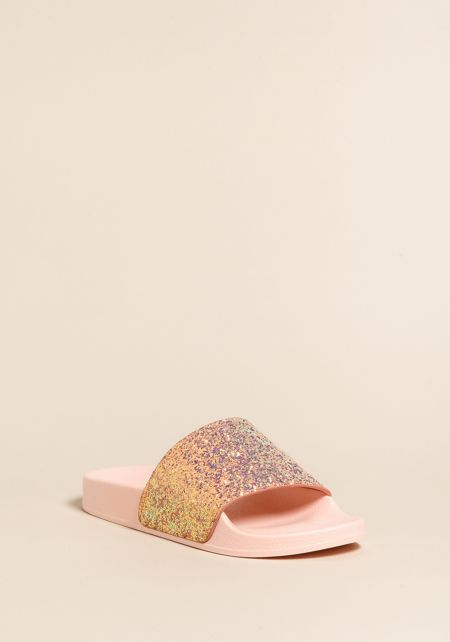 Pink Glitter Slide Sandals
