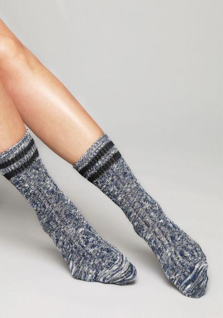 Navy Stripe Marled Knit Crew Socks