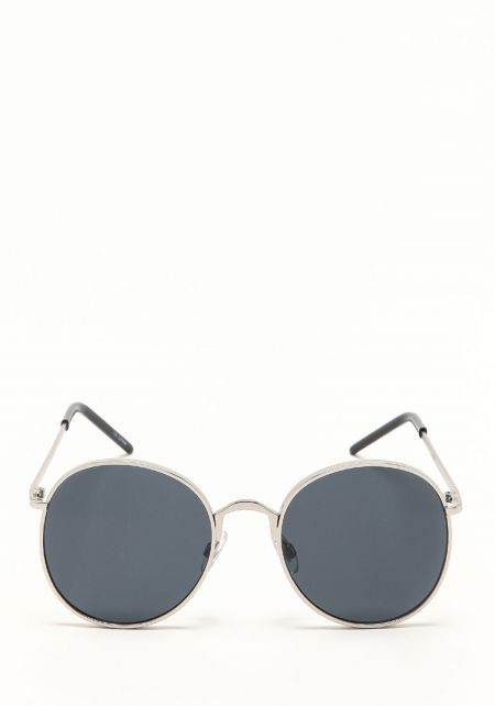 Zero UV Black Metal Round Sunglasses