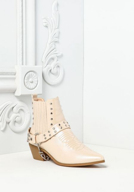 Cape Robbin Nude Leatherette Studded Chain Boots