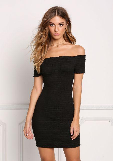 Black Smocked Off Shoulder Bodycon Dress