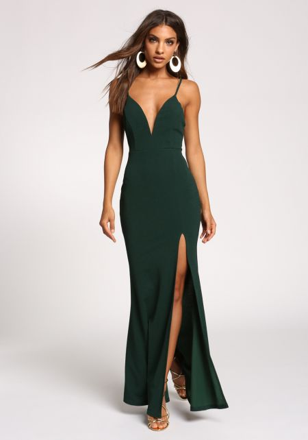 Hunter Green Plunge Slit Cut Out Maxi Gown