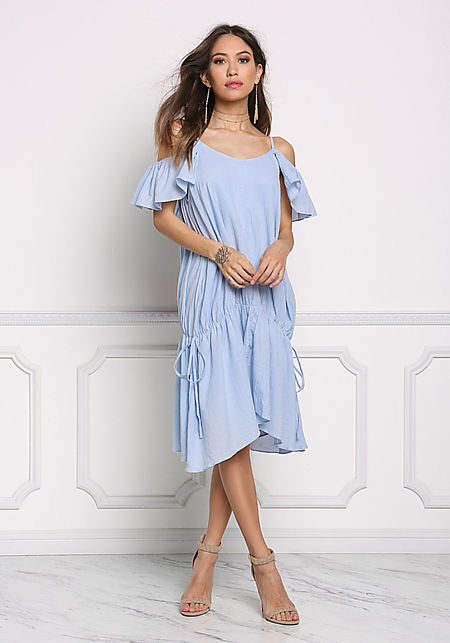 Light Blue Cold Shoulder Pointed Shift Dress