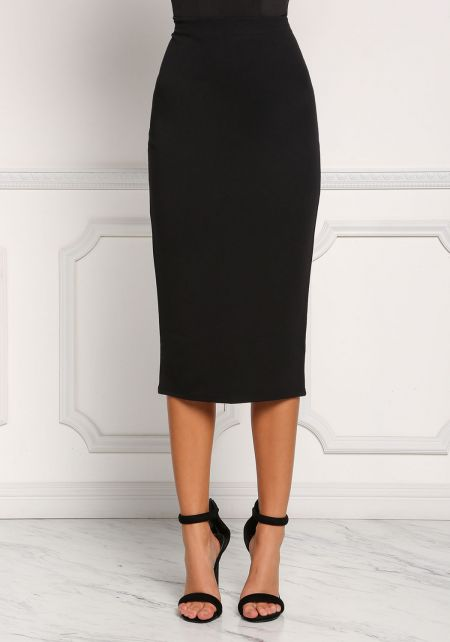 Black High Rise Midi Skirt