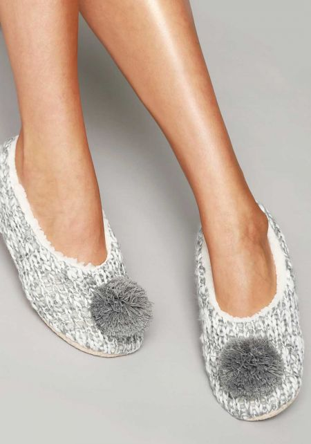 Grey Pom Pom Yarn Sock Slippers