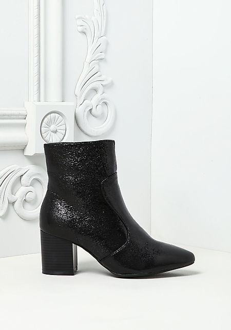 Black Metallic Foil Leatherette Pointed Booties