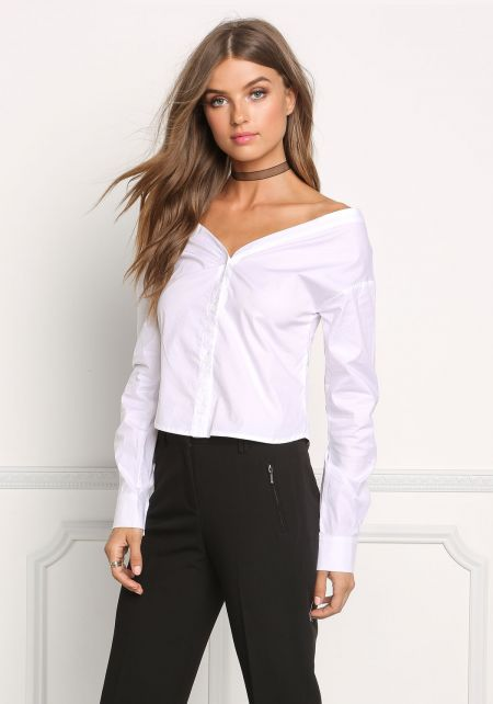 White Bardot Button Up Blouse