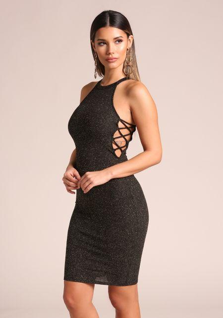Black Sparkle Side Lace Up Bodycon Dress