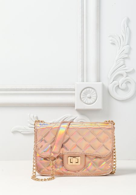 Rose Gold Holographic Quilted Chain Crossbody Bag
