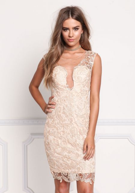 Champagne Lace Tulle Embrdoiered Rhinestone Dress
