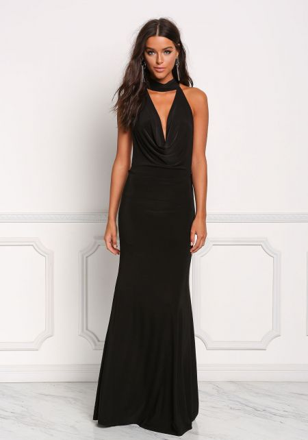 Black Plunge Draped Open Back Maxi Dress