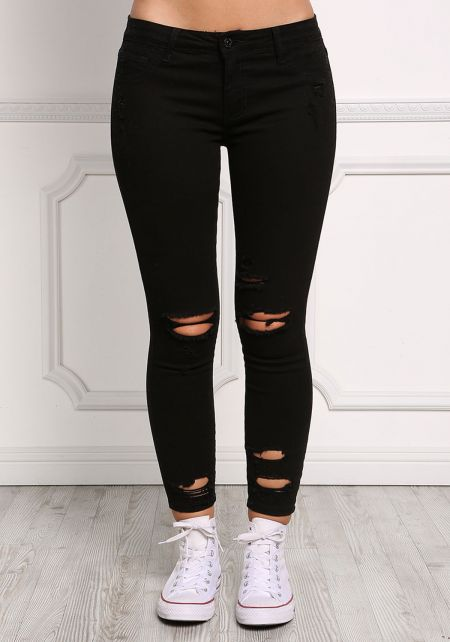 Black Distressed Low Rise Skinny Jeans