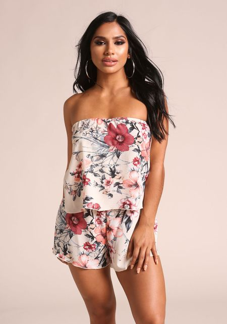 Nude Floral Layered Strapless Romper