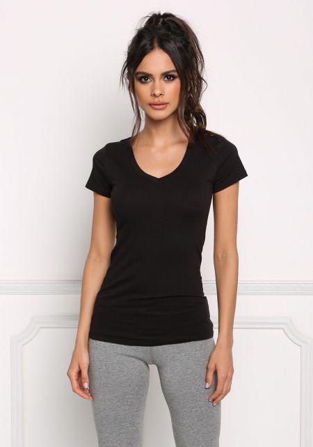 Black Scooped V Neck Basic Tee